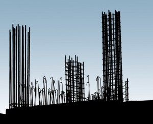 Reinforcing steel in construction site